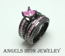 Load image into Gallery viewer, Black Ring Set Princess Cut Cubic Zirconia Pink Sapphire Engagement Wedding Promise Rings Unique