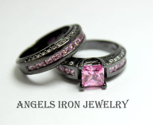 Black Ring Set Princess Cut Cubic Zirconia Pink Sapphire Engagement Wedding Promise Rings Unique