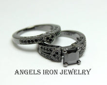 Load image into Gallery viewer, Black Engagement Ring Set Princess Cut Wedding Anniversary Promise Rings Unique Heart Gothic Women