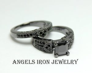 Black Engagement Ring Set Princess Cut Wedding Anniversary Promise Rings Unique Heart Gothic Women