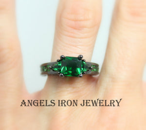 Black Ring Women Emerald Green Wedding Engagement Promise Rings Gold filled Gothic Steampunk Unique Gothic Jewelry Women Gift for her