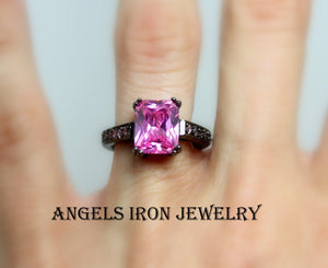 Black Ring Women Gold Filled Pink Sapphire Wedding Anniversary Promise Rings Unique Large Big Stone Jewelry Women Gift for her
