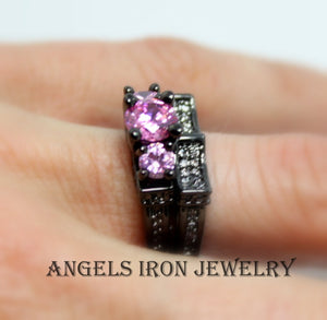 Black Ring Set Pink Sapphire Wedding Engagement Anniversary Promise Rings