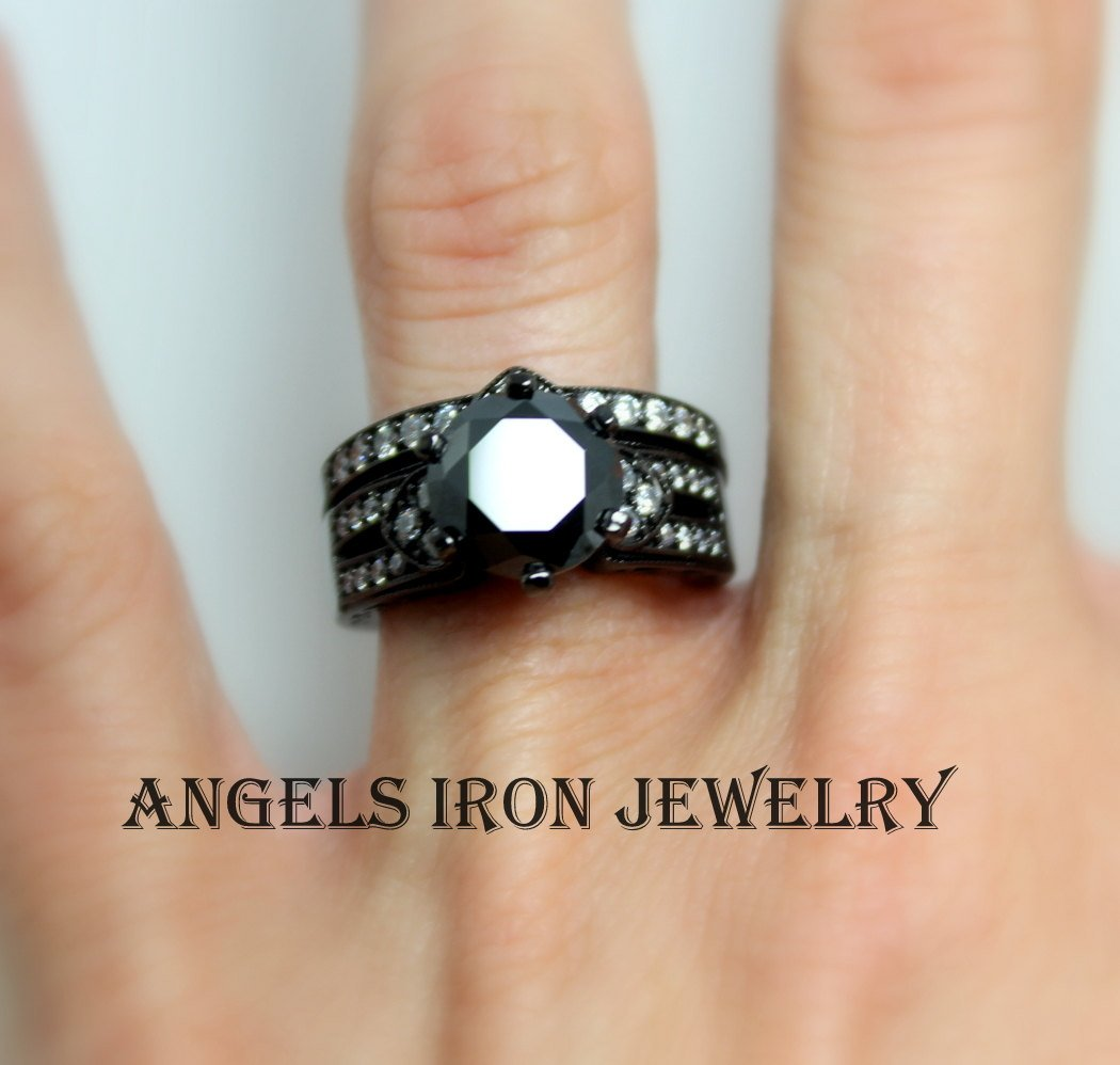 Black Engagement Ring Set Round Cut Wedding Anniversary Promise Rings Women