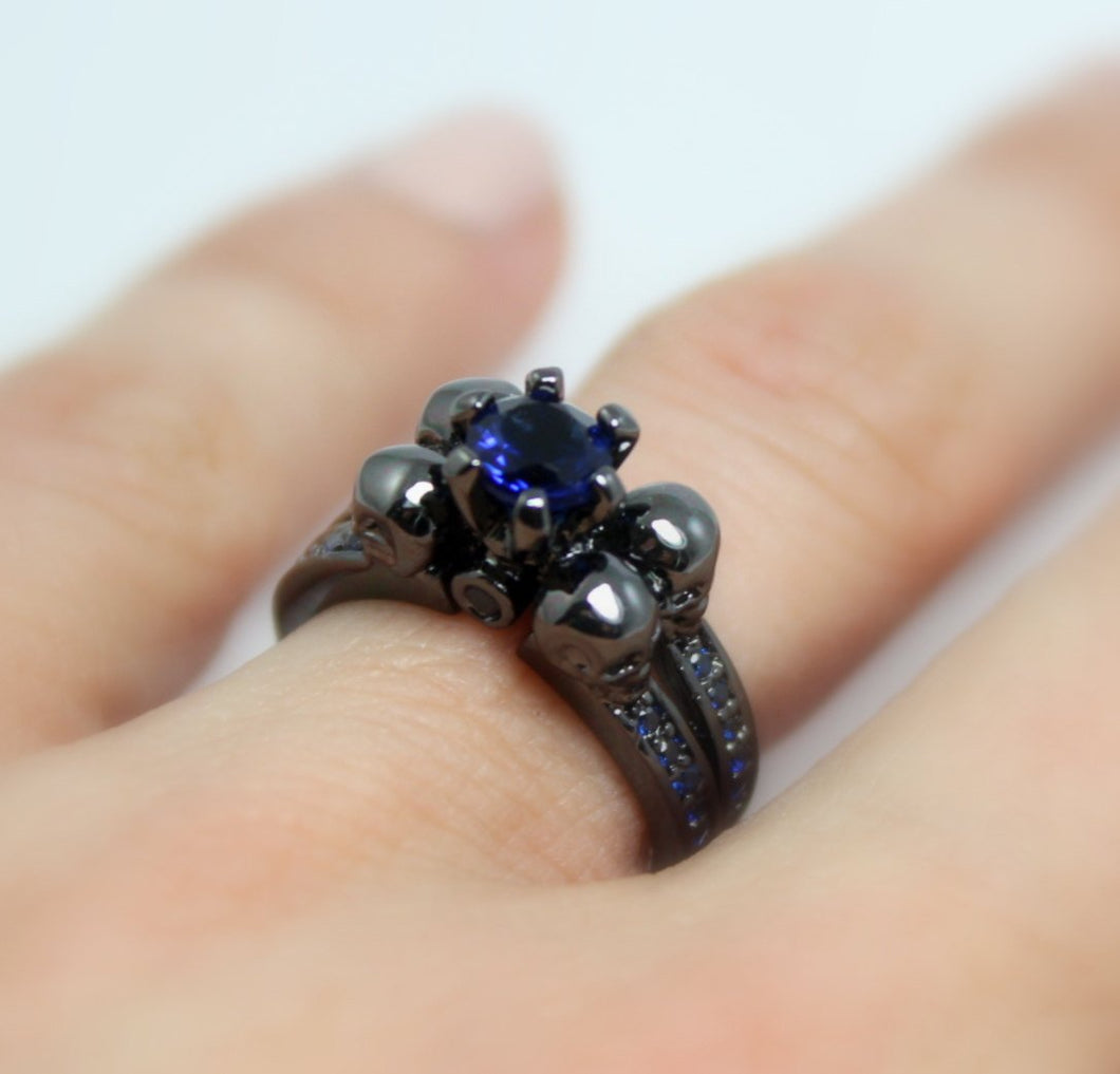 Skull Ring Women Black Gold Filled High Quality Blue Sapphire Engagement Anniversary Promise Rings Unique Skulls Gothic Jewelry Gift for her