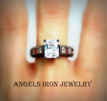 Load image into Gallery viewer, Black Ring Women RED CZ Diamond Engagement Wedding Anniversary Promise Rings