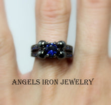 Load image into Gallery viewer, Skull Ring Women Black Gold Filled High Quality Blue Sapphire Engagement Anniversary Promise Rings Unique Skulls Gothic Jewelry Gift for her