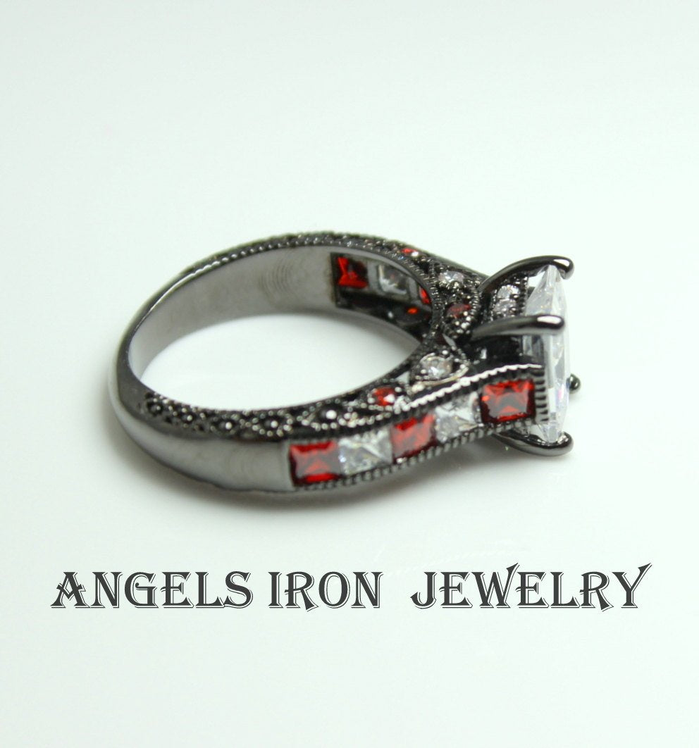 Black Ring Women RED CZ Diamond Engagement Wedding Anniversary Promise Rings
