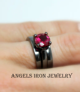 Black Engagement Ring Set Women High Quality Gold Filled Ruby Red Wedding Promise Rings Gothic Steampunk Unique Jewelry Women Gift for her