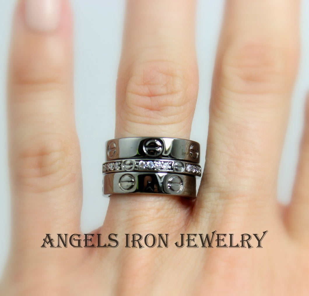 Black Ring Set Women Bands Engagement Wedding Anniversary Promise Rings Gothic Stackable Unique Jewelry Women Gift for her