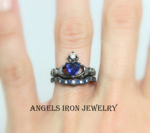Black Claddagh Ring Set Women Blue Sapphire Heart Crown Hands Irish Celtic Rings Wedding Engagement Promise Unique Gothic Jewelry Gift