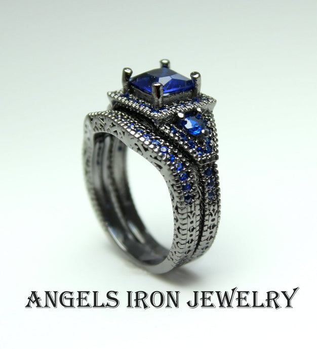 Black Engagement Ring Set Princess Cut Lab Created Blue Sapphire CZ Women