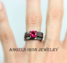 Load image into Gallery viewer, Black Engagement Ring Set Women High Quality Gold Filled Ruby Red Wedding Promise Rings Gothic Steampunk Unique Jewelry Women Gift for her