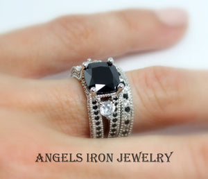 Black Diamond Engagement Ring Set Women Silver Platinum Women Rings