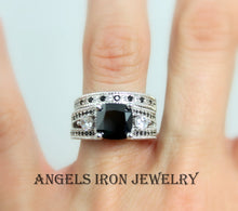 Load image into Gallery viewer, Black Diamond Engagement Ring Set Women Silver Platinum Women Rings
