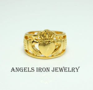 Gold Claddagh Ring Mens Stainless Steel Heart Irish Celtic Rings Wedding Engagement  Jewelry Unique Gift for Him