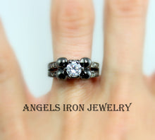Load image into Gallery viewer, Skull Ring Black Wedding Engagement Anniversary Promise Diamond Solitaire Rings Unique Gothic Jewelry Women Gift for her