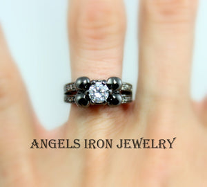 Skull Ring Black Wedding Engagement Anniversary Promise Diamond Solitaire Rings Unique Gothic Jewelry Women Gift for her