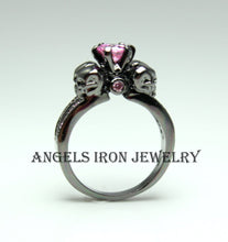 Load image into Gallery viewer, Black Skull Ring Sapphire Pink Zirconia Women Wedding Engagement Anniversary Promise Rings High Qaulity Unique Gothic Jewelry Gift