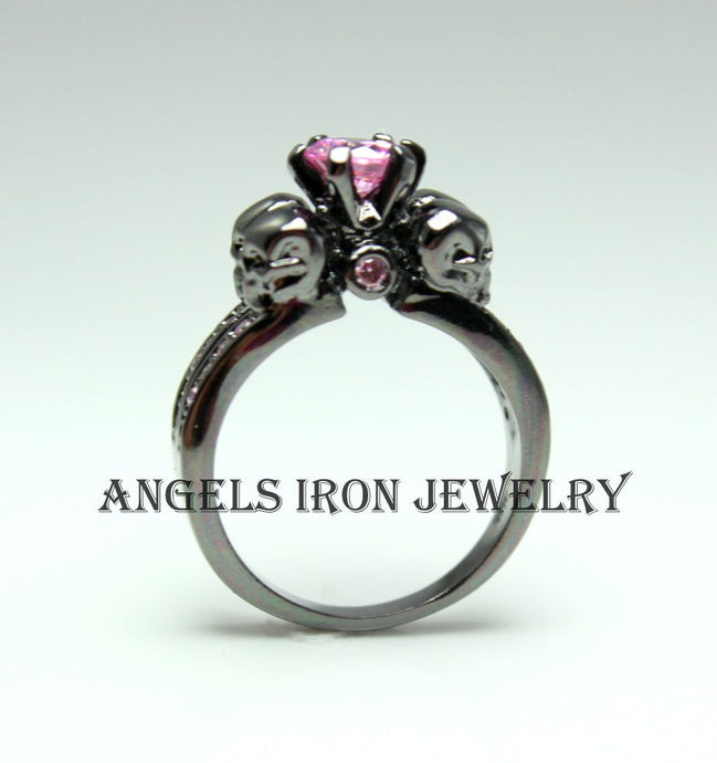 Black Skull Ring Sapphire Pink Zirconia Women Wedding Engagement Anniversary Promise Rings High Qaulity Unique Gothic Jewelry Gift