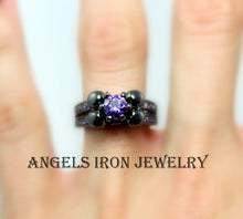 Load image into Gallery viewer, Skull Ring Black Gold Filled Puple Amethyst Women Wedding Engagement Anniversary Promise Rings High Qaulity Unique Gothic Jewelry Gift