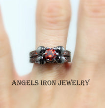 Load image into Gallery viewer, SALE Black Skull Ring Red Ruby Women Wedding Engagement Anniversary Promise Rings