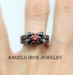 SALE Black Skull Ring Red Ruby Women Wedding Engagement Anniversary Promise Rings