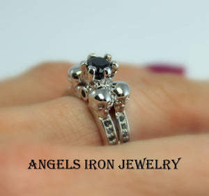 Skull Ring Women Wedding Engagement Anniversary Promise Rings White Gold Filled Black Diamond CZ Unique Skulls Gothic Jewelry Gift r