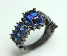 Load image into Gallery viewer, Black Gold Ring Women Wedding Engagement Anniversary Promise Rings Blue Sapphire