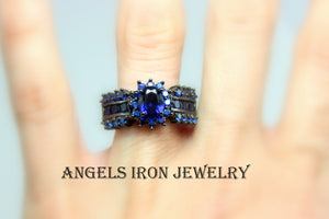 Black Gold Ring Women Wedding Engagement Anniversary Promise Rings Blue Sapphire