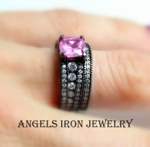 Black Gold Ring Set Pink Sapphire Wedding Engagement Promise Rings Unique