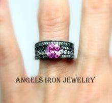 Load image into Gallery viewer, Black Gold Ring Set Pink Sapphire Wedding Engagement Promise Rings Unique