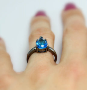 Black Gold Ring Women Blue Topaz CZ  Enagement Wedding Anniversary Promise Rings