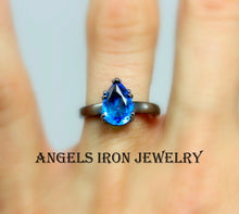 Load image into Gallery viewer, Black Gold Ring Women Blue Topaz CZ  Enagement Wedding Anniversary Promise Rings