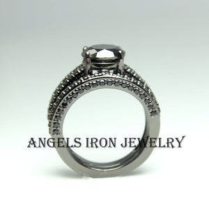 Black Engagement Ring Women Set Round Cut Wedding Anniversary Promise Rings