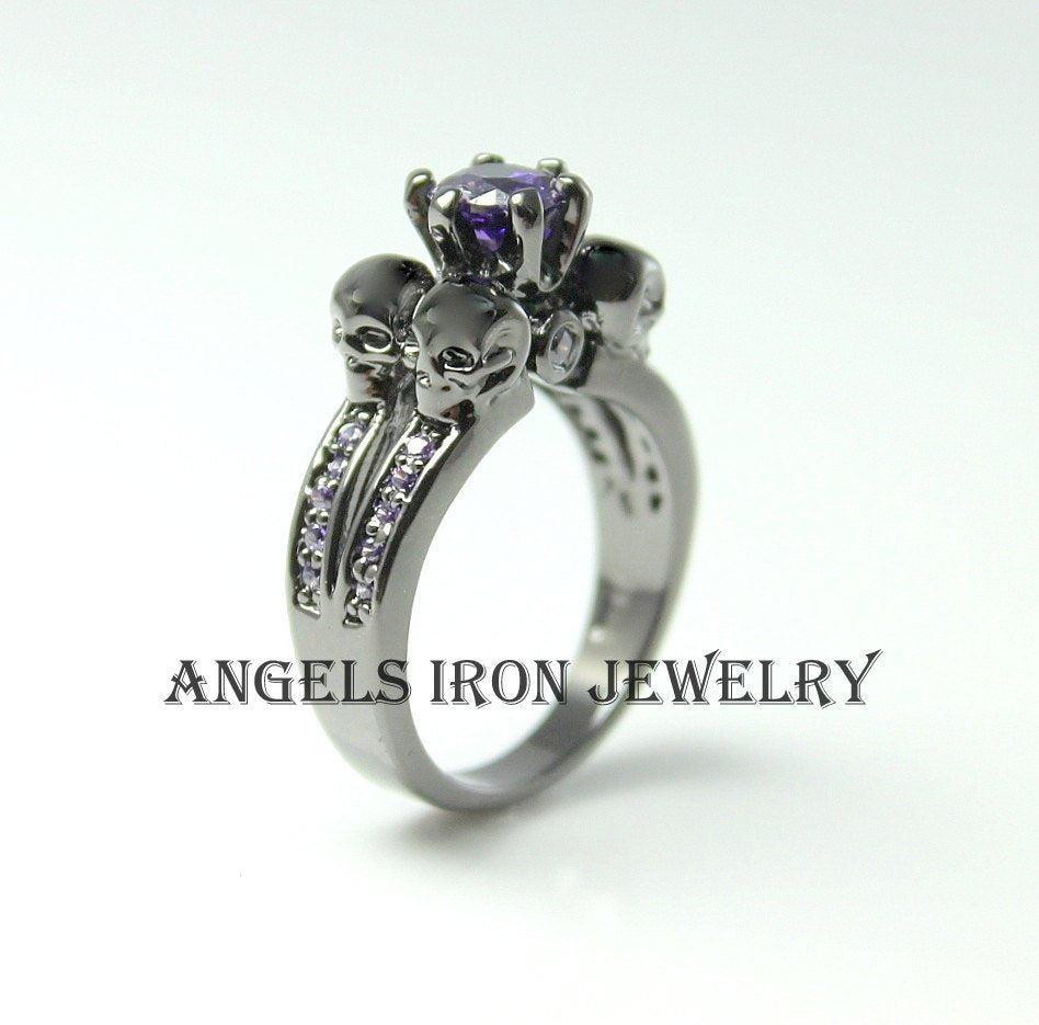 Skull Ring Black Gold Filled Puple Amethyst Women Wedding