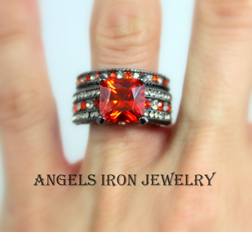 SALE Black Gold Ring Women Set Engagement Wedding Anniversary Promise Rings Gothic Red Jewelry Gift for her
