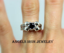 Load image into Gallery viewer, Skull Ring Women Wedding Engagement Anniversary Promise Rings White Gold Filled Black Diamond CZ Unique Skulls Gothic Jewelry Gift r