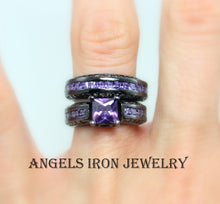 Load image into Gallery viewer, Black Ring Set Princess Cut CZ Purple Amethyst Engagement Wedding Promise Rings Unique Gothic