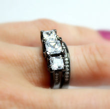 Load image into Gallery viewer, Black Gold Ring Set Princess Cut Diamond Zirconia Womens Unique Gothic Jewelr