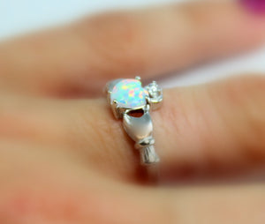 Claddagh Ring Sterling Silver Fire Opal  Heart Irish Celtic Rings Wedding Engagement Promise Girls Silver Jewelry Unique Gift for Her