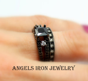 Black Ring Women Princess Cut Wedding Engagement Set Promise Rings Unique Gothic Steampunk Jewelry Women Gift for her