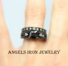 Load image into Gallery viewer, Black Ring Women Princess Cut Wedding Engagement Set Promise Rings Unique Gothic Steampunk Jewelry Women Gift for her