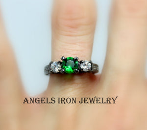 SALE Black Ring Women Green Emerald Zirconia Wedding Engagement Anniversary Promise Rings Unique Gothic Steampunk Jewelry Gift for her