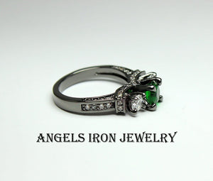 Black Ring Women Green Emerald Zirconia Wedding Engagement Anniversary Promise Rings Unique Gothic Steampunk Jewelry Gift for her