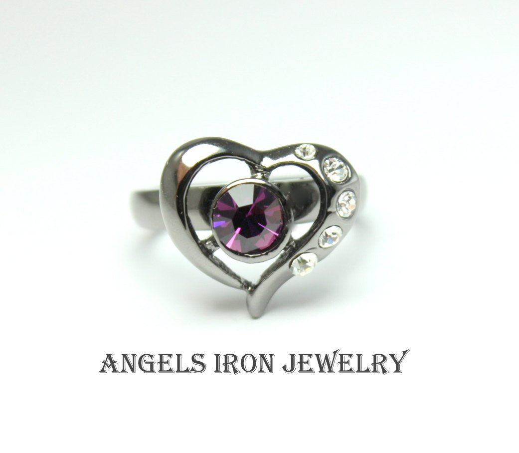 Black Ring Women Heart Purple Amethyst Swarovski Crystal Enagement Wedding Anniversary Promise Rings Unique Gothic Jewelry Gift for her