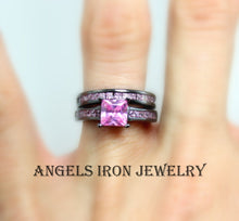 Load image into Gallery viewer, Black Engagement Ring Women Wedding Set Anniversary Promise Rings Pink CZ