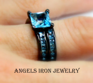 Black Wedding Ring Set Women Wedding Set Anniversary Promise Rings Blue Topaz Unique Gothic Jewelry Gift for her