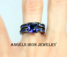 Load image into Gallery viewer, Black Wedding Ring Set Women Wedding Set Anniversary Promise Rings Blue Sapphire Zirconia