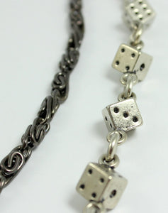 Wallet Chain Men Gunmetal Silver Dice Double Two Strand Leather Key Ring Jean Biker Chains High Quality Mens Steampunk Gothic Hipster Punk